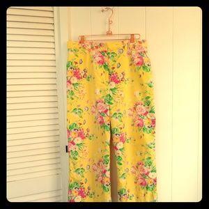 Ralph Lauren Wide Leg 100% Cotton Floral Pants